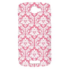 White On Soft Pink Damask HTC One S Hardshell Case