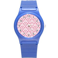 White On Soft Pink Damask Plastic Sport Watch (Small)