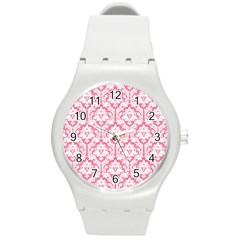 White On Soft Pink Damask Plastic Sport Watch (medium)
