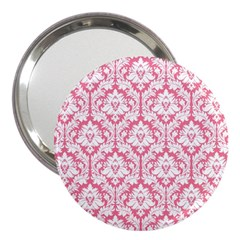 White On Soft Pink Damask 3  Handbag Mirror