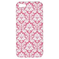White On Soft Pink Damask Apple Iphone 5 Hardshell Case