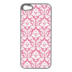 White On Soft Pink Damask Apple iPhone 5 Case (Silver)
