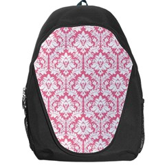 White On Soft Pink Damask Backpack Bag