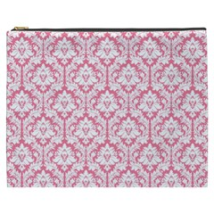 White On Soft Pink Damask Cosmetic Bag (XXXL)