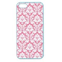 White On Soft Pink Damask Apple Seamless Iphone 5 Case (color)