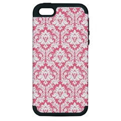White On Soft Pink Damask Apple Iphone 5 Hardshell Case (pc+silicone)