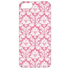 White On Soft Pink Damask Apple iPhone 5 Classic Hardshell Case
