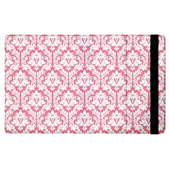 White On Soft Pink Damask Apple iPad 2 Flip Case
