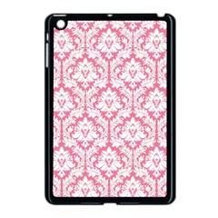 White On Soft Pink Damask Apple Ipad Mini Case (black)