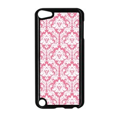 White On Soft Pink Damask Apple Ipod Touch 5 Case (black)