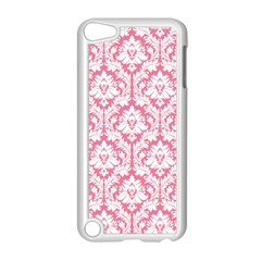 White On Soft Pink Damask Apple Ipod Touch 5 Case (white)
