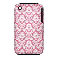 White On Soft Pink Damask Apple iPhone 3G/3GS Hardshell Case (PC+Silicone)