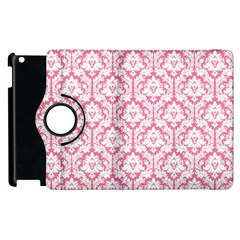 White On Soft Pink Damask Apple Ipad 2 Flip 360 Case