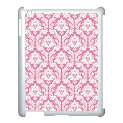 White On Soft Pink Damask Apple iPad 3/4 Case (White)