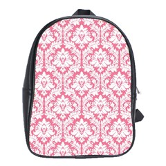 White On Soft Pink Damask School Bag (xl)