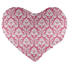 soft Pink Damask Pattern Large 19  Premium Heart Shape Cushion