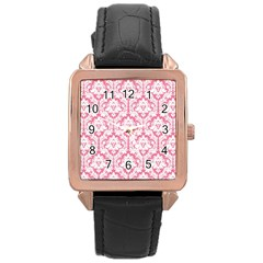 White On Soft Pink Damask Rose Gold Leather Watch