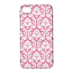 White On Soft Pink Damask Apple Iphone 4/4s Hardshell Case With Stand