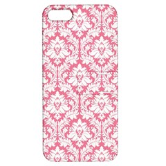 White On Soft Pink Damask Apple Iphone 5 Hardshell Case With Stand