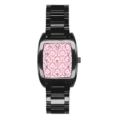 White On Soft Pink Damask Stainless Steel Barrel Watch