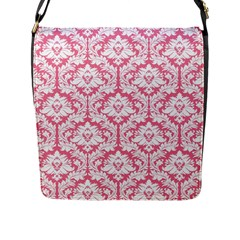 soft Pink Damask Pattern Flap Closure Messenger Bag (L)