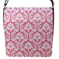 Soft Pink Damask Pattern Flap Closure Messenger Bag (s)