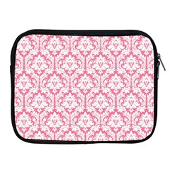 White On Soft Pink Damask Apple iPad Zippered Sleeve