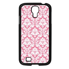 White On Soft Pink Damask Samsung Galaxy S4 I9500/ I9505 Case (Black)