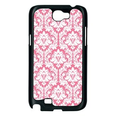 White On Soft Pink Damask Samsung Galaxy Note 2 Case (Black)