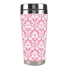 White On Soft Pink Damask Stainless Steel Travel Tumbler