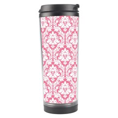 White On Soft Pink Damask Travel Tumbler