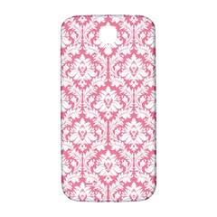 White On Soft Pink Damask Samsung Galaxy S4 I9500/I9505  Hardshell Back Case