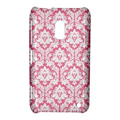 White On Soft Pink Damask Nokia Lumia 620 Hardshell Case
