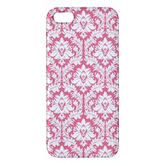 White On Soft Pink Damask iPhone 5S Premium Hardshell Case