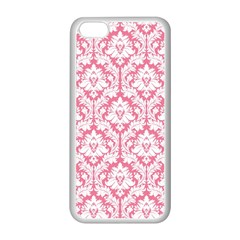 White On Soft Pink Damask Apple iPhone 5C Seamless Case (White)