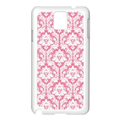 White On Soft Pink Damask Samsung Galaxy Note 3 N9005 Case (White)