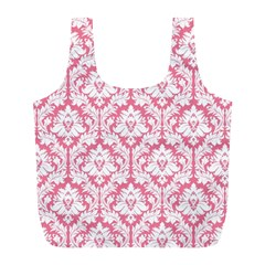 Soft Pink Damask Pattern Full Print Recycle Bag (l)