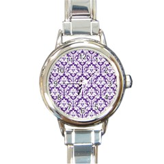 White on Purple Damask Round Italian Charm Watch