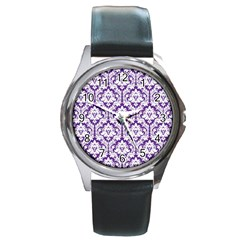 White on Purple Damask Round Leather Watch (Silver Rim)