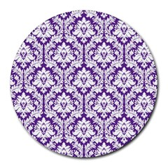 White On Purple Damask 8  Mouse Pad (round)