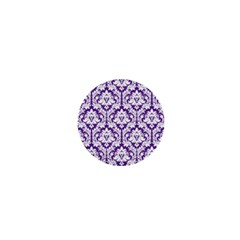White on Purple Damask 1  Mini Button Magnet
