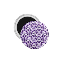 White on Purple Damask 1.75  Button Magnet