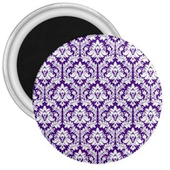 White on Purple Damask 3  Button Magnet