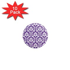 White on Purple Damask 1  Mini Button Magnet (10 pack)