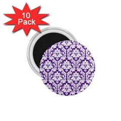 White on Purple Damask 1.75  Button Magnet (10 pack)