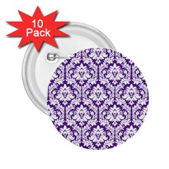 White on Purple Damask 2.25  Button (10 pack)