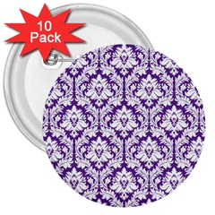 White on Purple Damask 3  Button (10 pack)