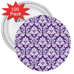White On Purple Damask 3  Button (100 Pack)