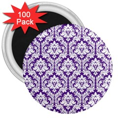 White on Purple Damask 3  Button Magnet (100 pack)