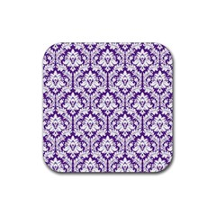 White on Purple Damask Drink Coasters 4 Pack (Square)